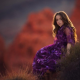 purple, nature, girl, long hairs, kid, dress wallpaper