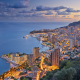 monte carlo, monaco, city, evening, sea, clouds, panorama, wallpaper