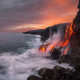 nature, landscape, hawaii, lava, ocean, usa, rock, sunset wallpaper