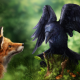 animals, fox, bird, crow, photoshop, art wallpaper