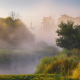 morning, fog, church, river, nerskaya river, moscow oblast, russia wallpaper