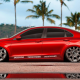 bmw e90 20 rims, bmw e90, bmw, cars, red car, palm, reflection, tuning, bmw 3-series wallpaper