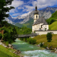 nature, landscape, bavaria, germany, mountains, alps, valley, stream, river, church, bridge wallpaper
