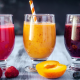 food, fruit, drinking glass, fresh, juice, raspberry, blueberry, peach wallpaper
