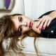 anastasia scheglova, model, women, red nails, couch, long hairs wallpaper