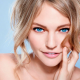 blonde, face, blue eyes, smiling, closeups, Sasha Pivovarova wallpaper