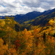 nature, clouds, sky, mountains, trees, autumn, foliage wallpaper