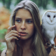 blue eyes, owl, women, blonde, long hair, finger on lips wallpaper