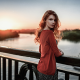 women, redhead, sweater, open sweater, dress, bridge, depth of field, sunset, river, long hair wallpaper