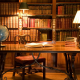 office, desk, books, globe, lamp, library wallpaper