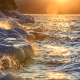 lake, baikal, winter, ice, water, spray, sunset, russia, nature wallpaper