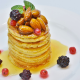 pancake, honey, nuts, berry, food wallpaper