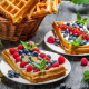food, dessert, cake, raspberry, blueberry, waffles wallpaper
