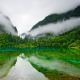 Jiuzhaigou Nature Reserve, China, lake, clear water, trees, mountain, clouds, Five Colored Lake wallpaper