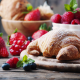 strawberry, blueberry, raspberry, croissants, pastries, food wallpaper
