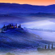 fog, hills, house, pines, light, val dorcia, tuscany, italy wallpaper