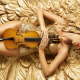creative, women, violin, blonde, red lips, tanned, corset wallpaper