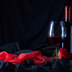 holidays, bottle, wine, flowers, rose, glass, cloth wallpaper