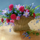 table, basket, flowers, snowdrops, crocuses, spring wallpaper
