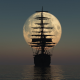 moon, ship, sailing ship, sea wallpaper