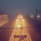 train station, night, mist, fog, railroad wallpaper