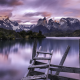 Torres del Paine, clouds, Chile, nature, landscape, lake, mountain, sunrise, calm, summer, water wallpaper