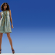 Alina Vacariu, dress, long legs, brunette, blue background wallpaper