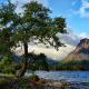 nature, landscape, mountain, water, lake, trees, Montana, USA, Glacier National Park, bench, clouds wallpaper