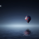 hot air balloon, balloon, starry sky, sea, 3d hraphics wallpaper