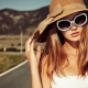 road, sun hats, blonde, tank top, girl, woman, white clothing, rings, looking at viewer, depth of fi wallpaper