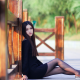 Asian, pale, dark hair, black dresses, dress, dark eyes, tights, women outdoors wallpaper