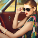 sunglasses, scarf, bangles, red lipstick, car, blonde, vintage, sitting, women wallpaper