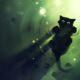 Black Cat, water, shadow, lights, green, cute animals wallpaper