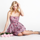 dress, rose, pink dress, high heels, blonde, blue eyes, bare shoulders, hands in hair, sitting wallpaper