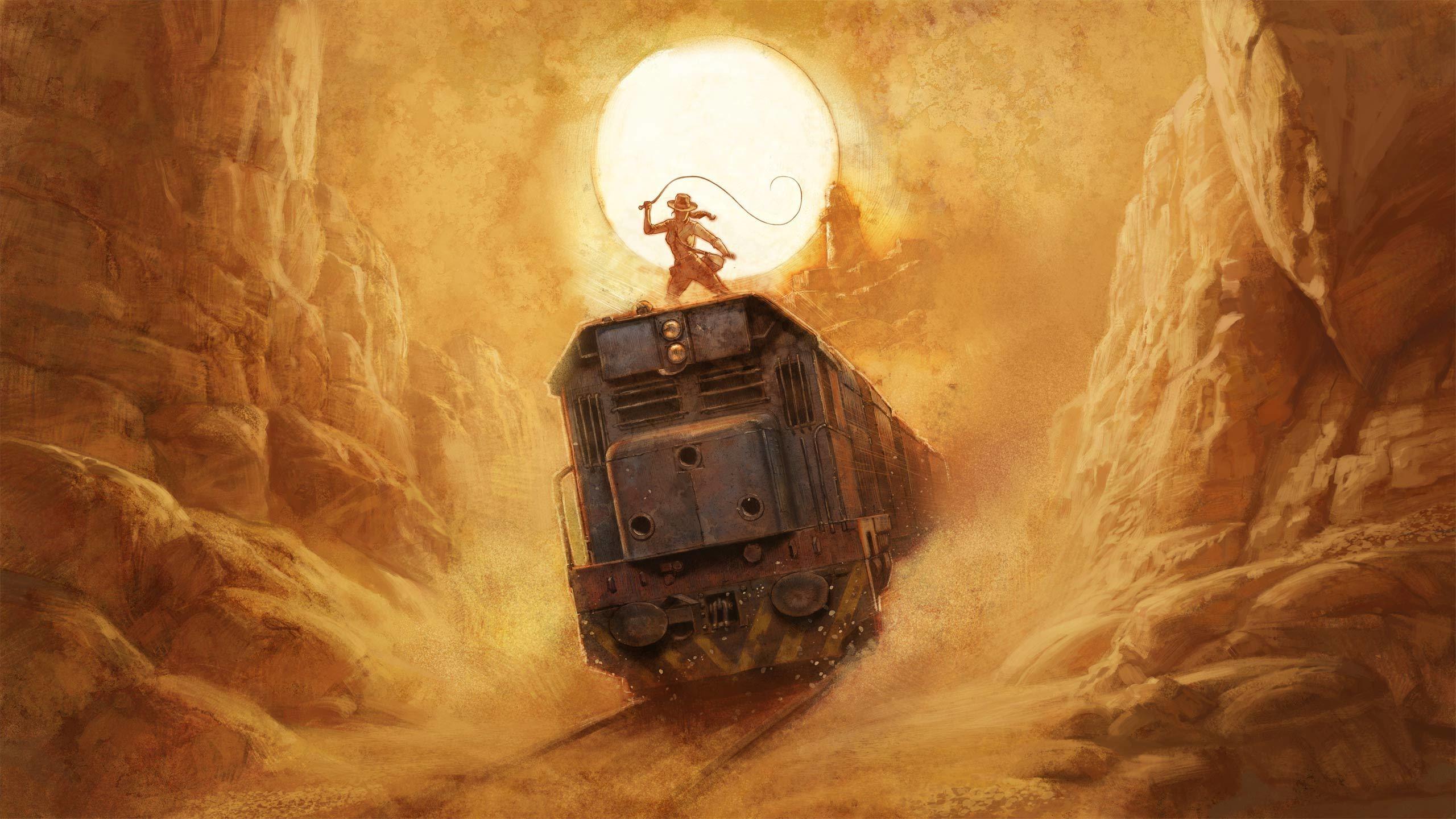 Download 2560x1440 Artwork Fantasy Art Train Moon Canyon Indiana Jones Wallpapers