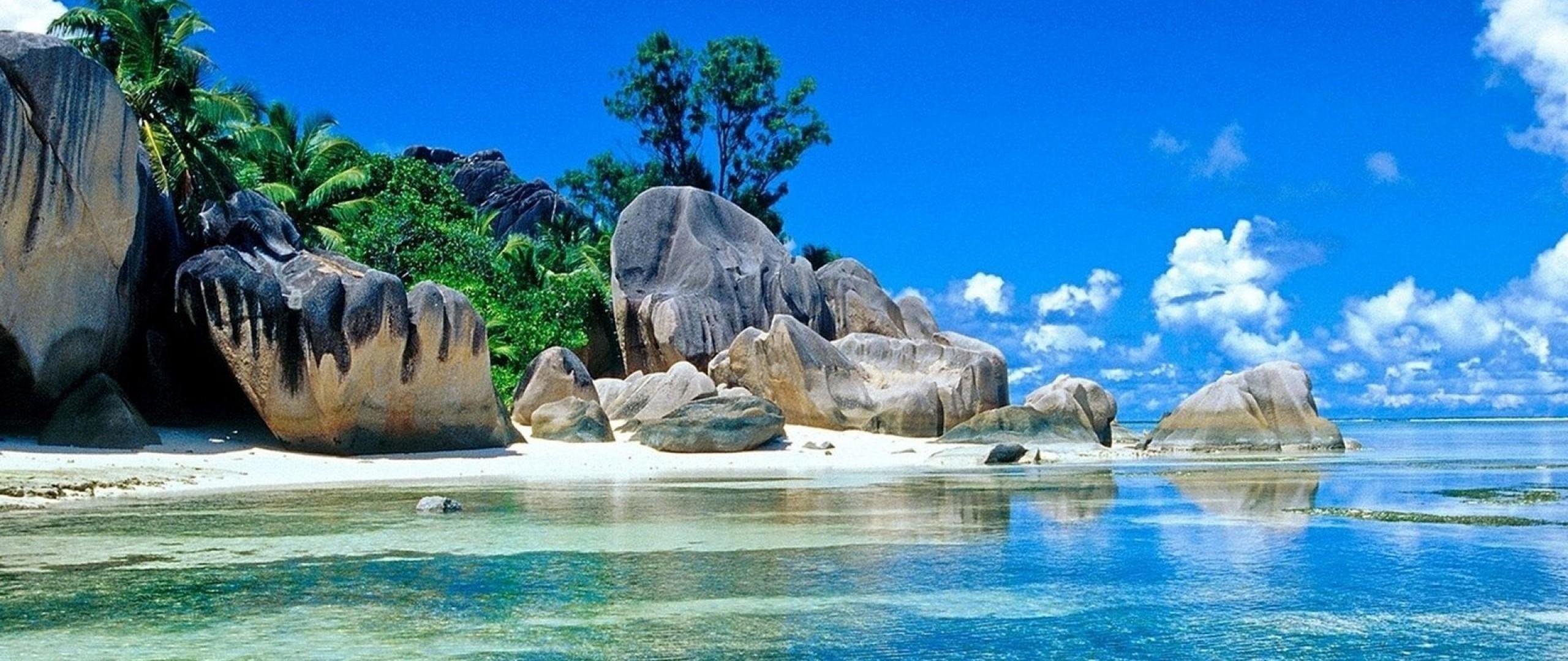 Download 2560x1080 Anse Source Dargent Seychelles La Digue Island Nature