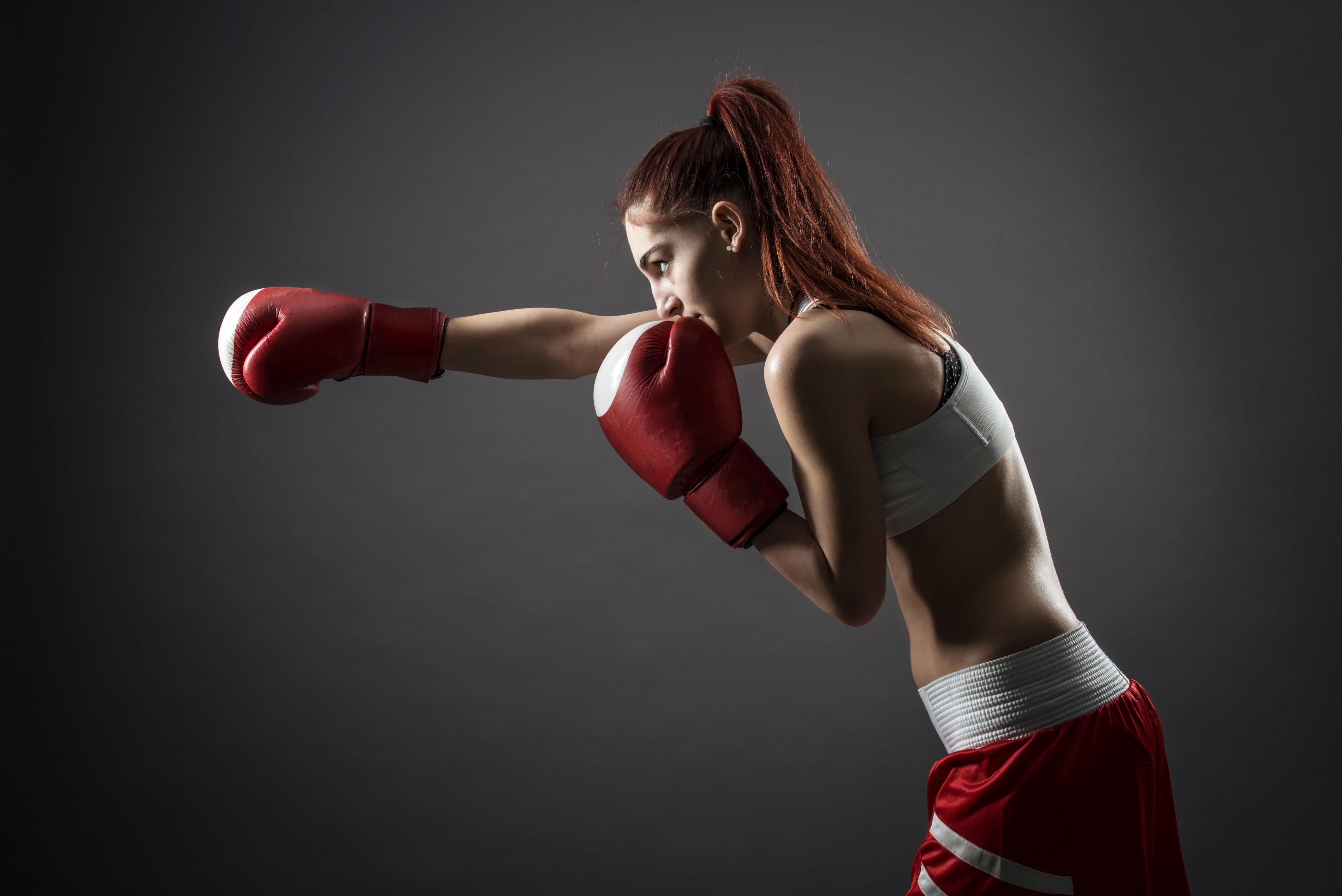 Download 4031x2691 boxing, women, boxing gloves, redhead, sport, box ...