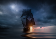 landscape, nature, sea, clouds, sunset, sailing ship, storm, blue, water, bird, flying wallpaper