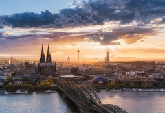 landscape, nature, cityscape, Cologne, Germany, sunset, river, church, bridge, sky, clouds wallpaper