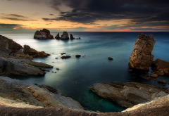 nature, landscape, sunset, sea, coast, rock, clouds, blue, sky, water, Spain wallpaper