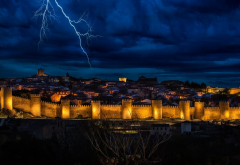 landscape, lightning, clouds, nature, Spain, lights, city, evening, sky, gold, blue wallpaper