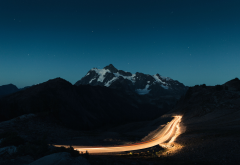 mountains, road, night, sky, nature wallpaper