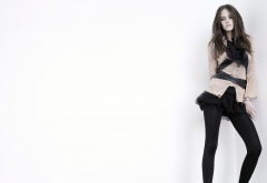 Kristen Stewart, women, brunette, looking at viewer, skirt, tights, black skirt, white background wallpaper