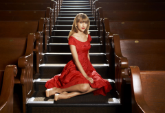 Taylor Swift, singer, celebrity, dress, women, stairs wallpaper