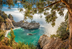 landscape, nature, California, beach, coves, waterfall, coast, sea, trees, shrubs, rock wallpaper