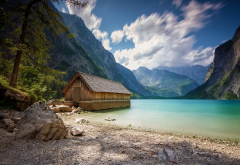 landscape, nature, boathouses, lake, summer, mountain, Alps, clouds, trees, beach wallpaper