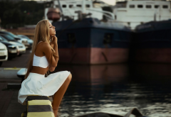 women, model, blonde, long hair, outdoors, water, barefoot, ship wallpaper