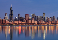 Chicago, Illinois, USA, city, skyscraper, multiple display, reflection wallpaper