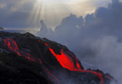 lava, nature, clouds, volcano wallpaper