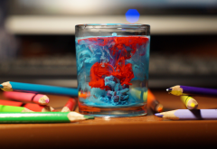 table, glass, water, pencils, paint splatter, colorful, depth of field, photography, bokeh wallpaper